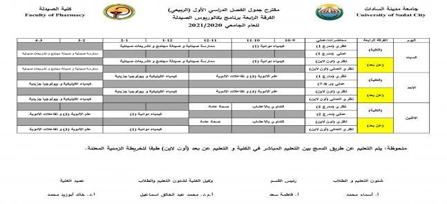مقترح جدول الفصل الدراسي الأول (الفرقة الرابعة)