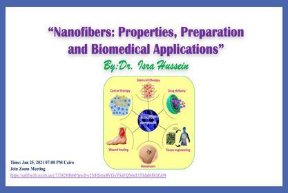ندوه الكترونية بعنوان Nanofibers: Properties, Preparation and Biomedical Applications
