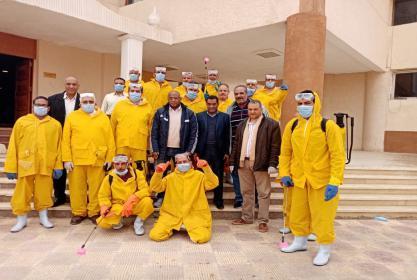 حملة تطهير وتعقيم كلية التربية الرياضية جامعة مدينة السادات لمواجهة فيروس كرونا المستجد